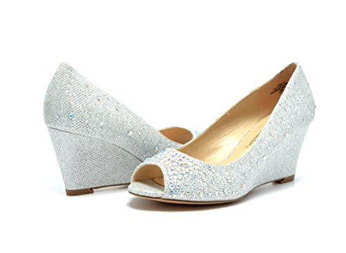 DREAM PAIRS HALF-3 Women's Bridal Wedding Party Glitter Rhinestone Peep Toe Wedge Pump Shoes -SILVER-GLITTER SIZE 6.5