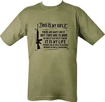 Kombat Mens Military Printed Army Combat Taliban British US Army This Is My Rifle Iraq T-shirt Tshirt (Small = Chest 86-91cm or 34-36 inch)