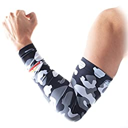 COOLOMG Youth Anti-Slip Arm Sleeves Cover Skin UV Protection Sports Adult, Camouflage/Gray, XX-Small