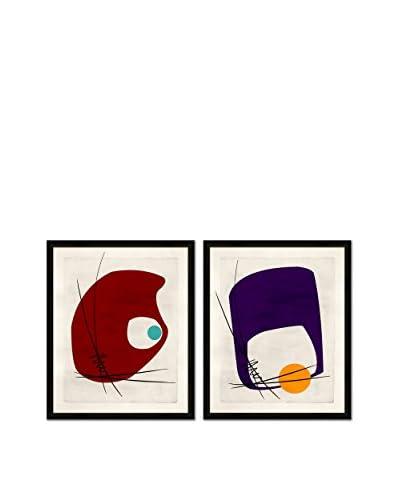 Soicher Marin Set of 2 Retro Mod Tini Giclée Reproductions, Red/Purple