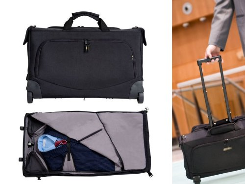 Wheeled Garment Bag and Suit Carrier with Zip-Away detachable Laptop Bag