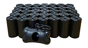 700 Poop Bags, Dog Waste Bags, Pet Waste Bags, Durable Premium Bulk Refill Rolls , Black + Leash Bone Dispenser