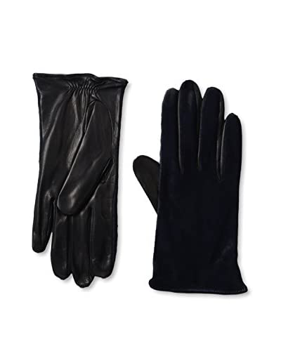 Portolano Women's Silk-Lined Leather Glove with Fur Top