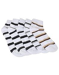 Mikado White Colour Cotton Ankle Socks for Men - 10 Pair Pack