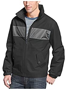 London Fog Bolton Hooded Black and Gray Zip Up Windbreaker Jacket XX-Large