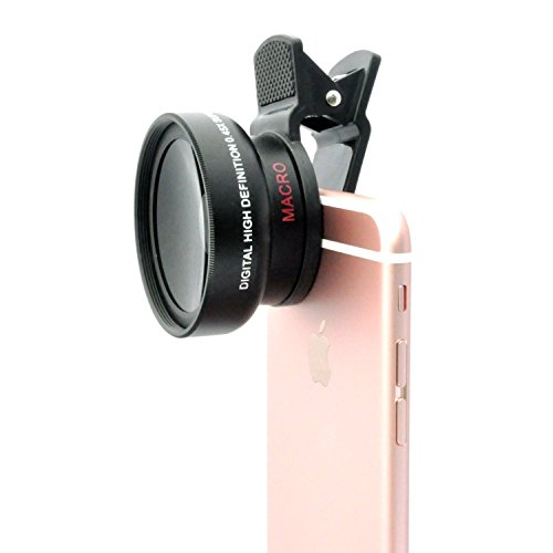 OmniLens Universal 2-in-1 Lens Kit .45X Fish Eye Wide Angle And X10 Macro Smartphone Camera Lenses With Japan...