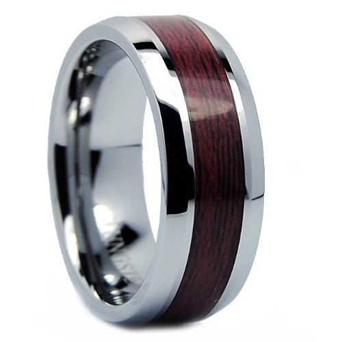 8mm mens tungsten carbide ring wedding band wood inlay size 8 - Wooden Wedding Rings For Men