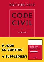 Code civil 2016 - 115e éd.