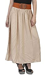 MansiCollections Women's Viscose Skirt (Beige, XX-Large)