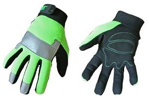 Cat Gloves Rainwear Boss Mfg CAT012214J Jumbo Fluorescent Green Spandex Back Glove