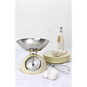 Dexam Retro Kitchen Scales In Cream - 2L Stainless Steel Bowl - Weighs Up To 5Kg