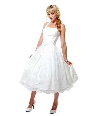 Unique Vintage 2012 Homecoming Dresses Off Cotton Eyelet Flirty Halter Swing Dress-White-XXXXL