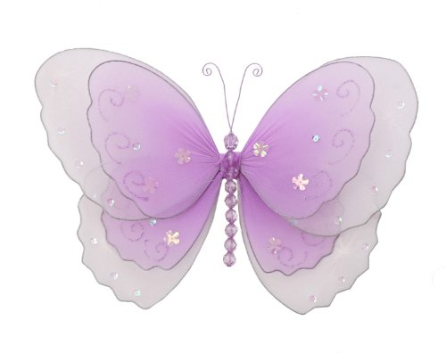 "Hanging Butterfly 10"" Medium Purple (Lavender) Multi-Layered Nylon Butterflies Decorations. Decorate For A Baby Nursery Bedroom, Girls Room Ceiling Wall Decor, Wedding Birthday Party, Bridal Baby Shower, Bathroom. Kids Childrens Butterfly Decoration 3D Ar front-974342"