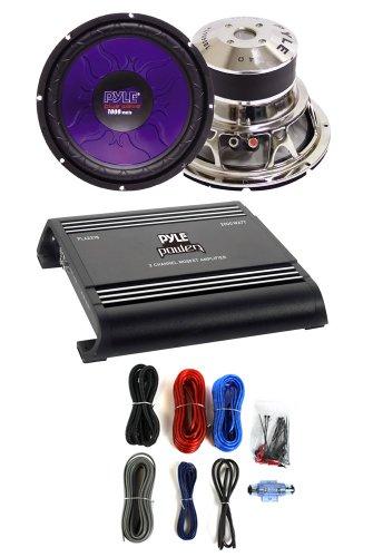 """2) Pyle Pl1590Bl 15"""" 2800W Car Audio Subwoofers + Pla2378 2000W Amp + Amp Kit"""