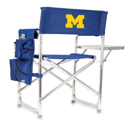 Michigan Wolverines Portable Folding Sports Chair - Navy W/Embroidery