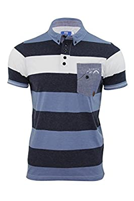 "Smith & Jones - Herren Polohemd ""Kingham"" Gestreiftes Jersey T-Shirt Kragen Button Down Kragen"