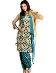 Exotic India Beige And Blue-Color Salwar Kameez With Velvet Applique And - Beige