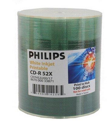 Philips 52X CD-R White Inkjet Hub Printable Blank Media Discs in 100 Pack Tape Wrap (CR7H5JU00/17)