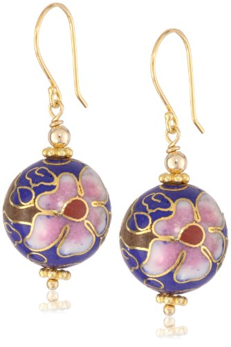 Gold Plated Sterling Silver Blue Porcelain Round Bead Drop Earrings
