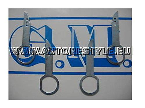 G.M. Production - 4 EAK - Radio keys chiavi chiavette sgancio per radio autoradio AUDI VolksWagen SEAT SKODA FORD dal 2003 al 2007 [solo per apparecchi a 4 fessure a taglio]