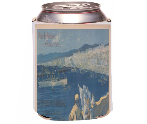 "Rikki Knight Vintage Posters Art ""Algeria To Tunisia"" Design Beer Can/Soda Drinks Cooler Koozie front-617155"