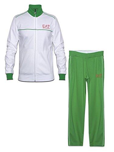 EA7 Mens EA7 White & Green Tracksuit Large