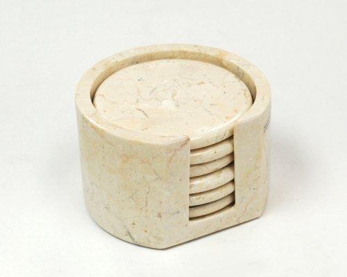Creative Home Byzantine-Champagne Marble 7pc Coaster Set (4″ diameter) Reviews