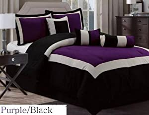 7 Pc Modern Hampton Comforter Set BLACK / PURPLE BED in a BAG - Queen Size Bedding