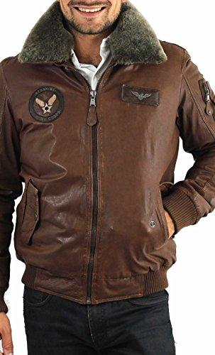 Giacca in pelle Redskins Doug Harlington cognac uomo Inverno 2015 marrone XXX-Large