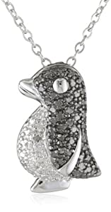Plated Brass Gunmetal Color Black and White Diamond-Accent Penguin Pendant Necklace, 18