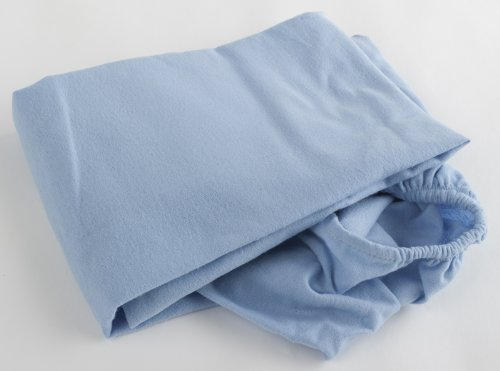 Pram Sheet Fitted Flannelette Blue