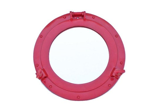 "Handcrafted Nautical Decor Deluxe Class Brass Porthole Mirror, 12"", Dark Red, Brass"