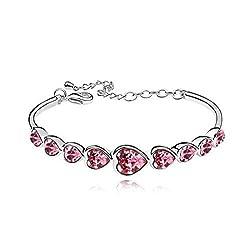 Shining Diva Fashion Pink Crystal Kadaa Bracelet For Girls
