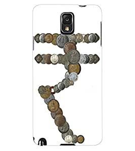 ColourCraft Rupee Sign made with Coins Design Back Case Cover for SAMSUNG GALAXY NOTE 3