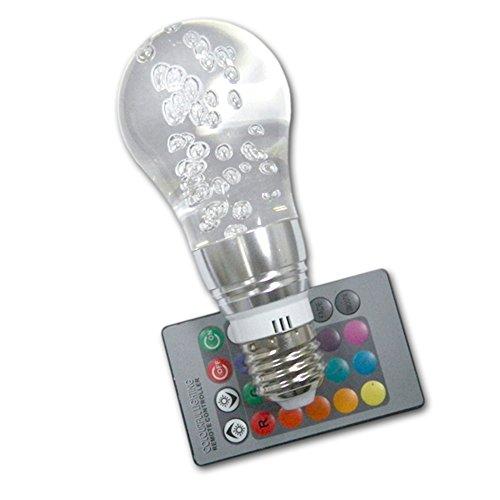 3W E27 Change Color Acrylic Ceiling Lamp Light Bulb + Remote Controller Bubble Style