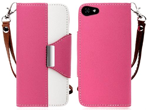 Mylife (Tm) Bubblegum Pink And White Classy Design - Textured Koskin Faux Leather (Card And Id Holder + Magnetic Detachable Closing) Slim Wallet For Iphone 5/5S (5G) 5Th Generation Itouch Smartphone By Apple (External Rugged Synthetic Leather With Magneti