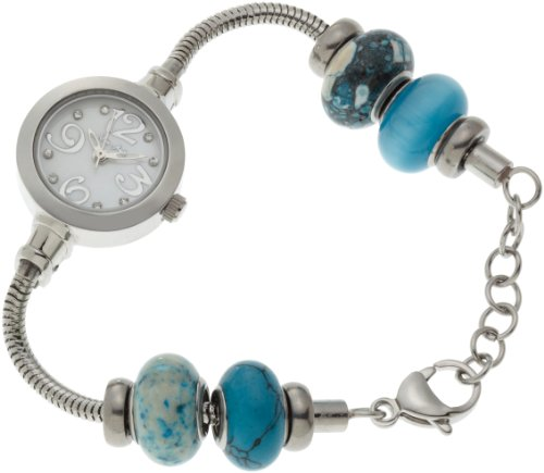 Mon Ami Women's 23516 Glass Bead Collection White Mother-Of-Pearl Dial Watch