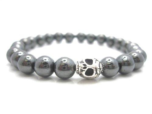 Mens Hematite Skull Bracelet