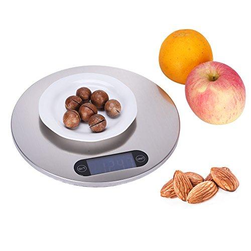 GHB Numérique de Balance de Cuisine Balance de Précision d'Acier Inoxydable 5kg (Inclus Batterie)
