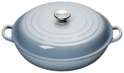 Le Creuset 30 cm Cast Iron Shallow Casserole, Coastal Blue