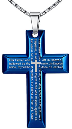 mens-stainless-steel-large-lords-prayer-cross-pendant-necklace-blue-color-23-chain-ddp020la