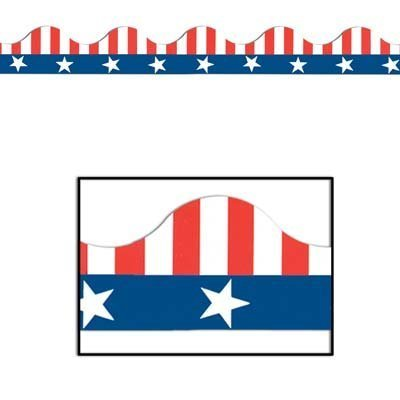 Patriotic Border Trim (stars & stripes design) Party Accessory  (1 count) (12/Pkg)