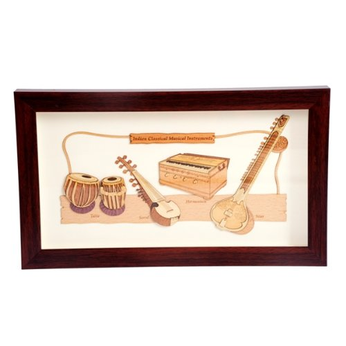 "The Bombay Store Wood Frame - Indian Musical Instruments L 12"" H 7"""