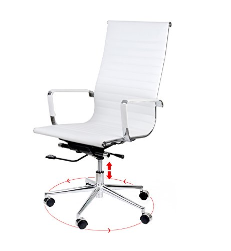 CMO High Back Ribbed Upholstered PU Leather Swivel Task Computer White Office Chair with Tensioner Knob, Chrome Armrest with Protective Sleeves, White