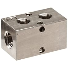 "Polyconn PCM10-125-02NP Nickel Plated Aluminum Manifold, 1/4"" NPT Female x 1/8"" NPT Female, 2 Stations"