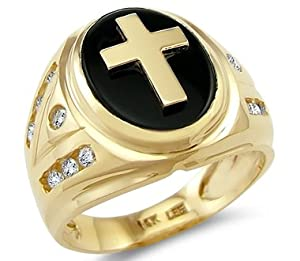 Size- 10.5 - New Solid 14k Yellow Gold Mens Large Cross Onyx CZ Cubic Zirconia Ring