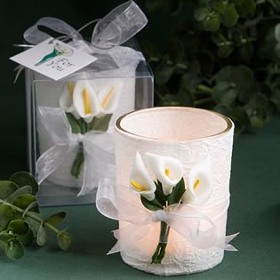 Stunning calla lily design candle favors, 36