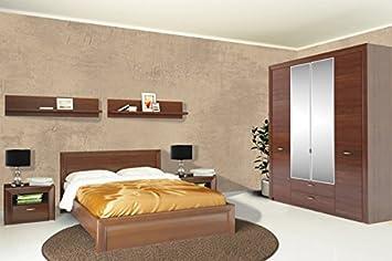 Schlafzimmer Komplett 68105 mit Kleiderschrank 176cm Doppelbett nussbaum milano