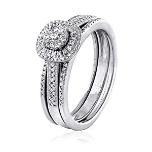 0.32 CT. Natural Diamond Bridal Collection 18K White Gold Engagement Ring Set With Matching Wedding Band