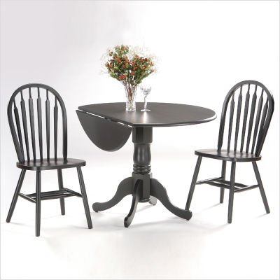 "International Concepts T46-42DP Round 42"" Dual Drop Leaf Dining Table (Black)"